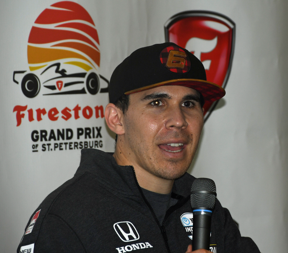 During a press conference, Robert Wickens exuded confidence about his road to recovery from spinal cord injuries sustained in August, 2018. [Joe Jennings Photo]