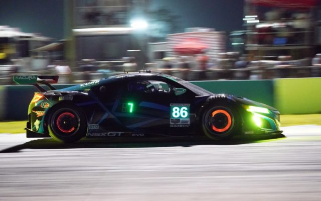 GTD Pole winning Acura during night practice.  [Photo by Jack Webster]