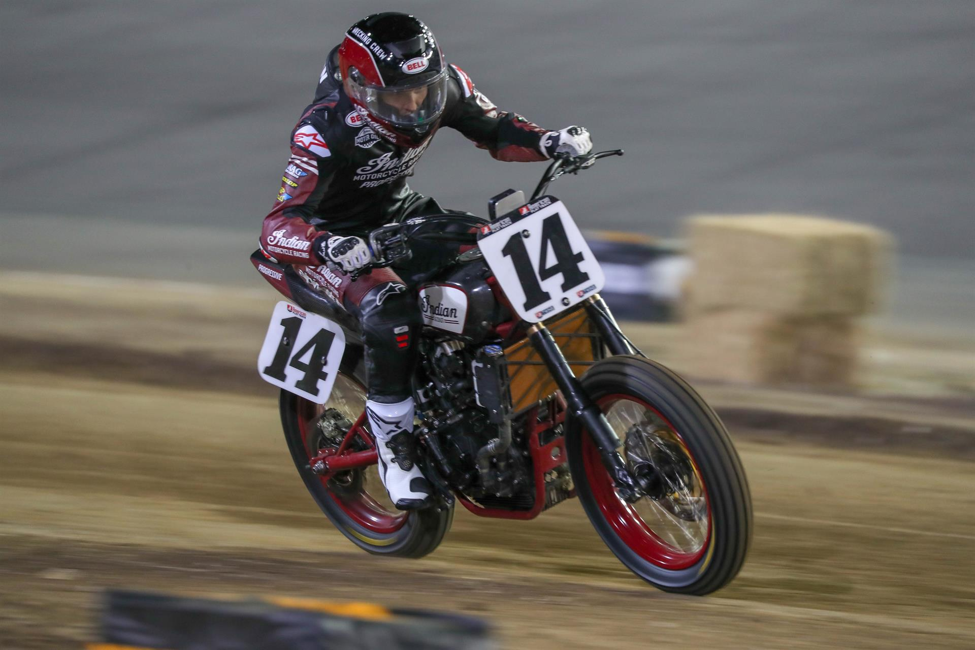 Briar Bauman and his Indian Motorcycle/Progressive Insurance FTR750 on the way to winning at Daytona. [Photo Credit: Scott Hunter/American Flat Track]