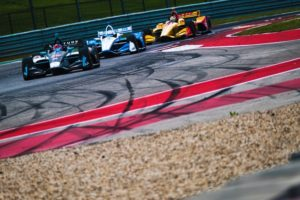 Colton Herta leads Josef Newgarden and Ryan Hunter-Reay at Circuit of The Americas. © [Jamie Sheldrick / Spacesuit Media]