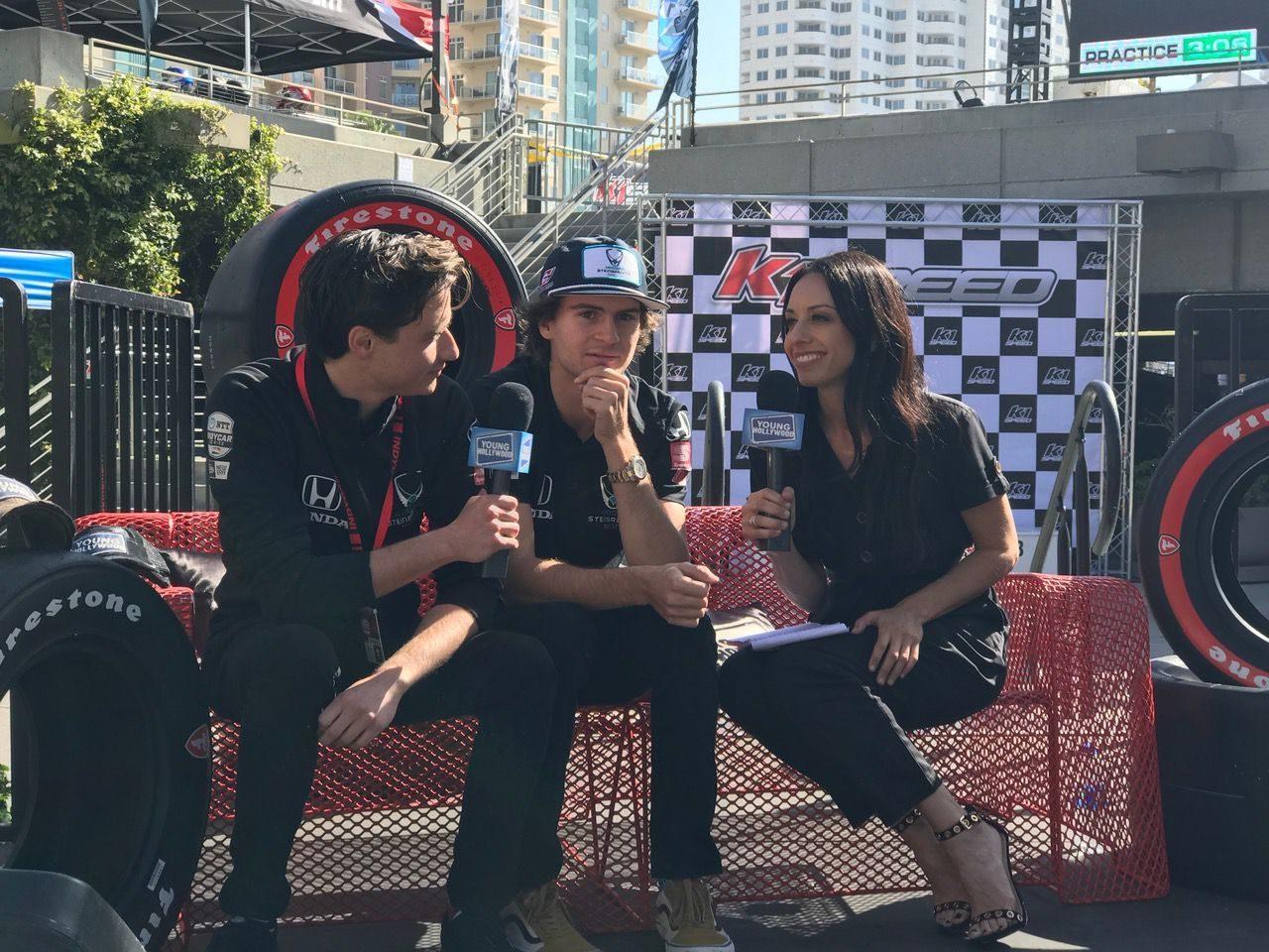 Colton Herta being interviewed.  [Photo by Eddie LePine]