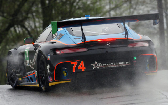 AMG Mercedes in the wet on Friday.  [Photo by Jack Webster]