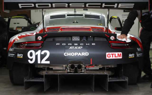 Business end of the winning GTLM Porsche.  [Photo by Jack Webster]