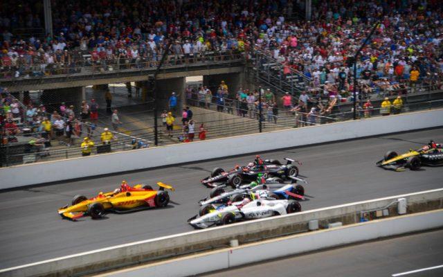 Ryan Hunter-Reay, Santino Ferrucci, Conor Daly, Will Power and James Hinchcliffe battle at Indianapolis.  [Russ Lake Photo]