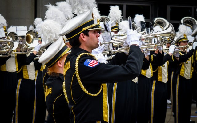 The Purdue Band performs at the Indianapolis 500.  [John Wiedemann Photo]