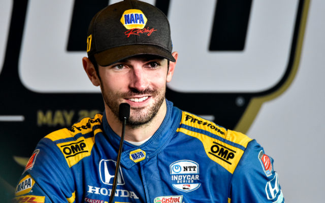 Alexander Rossi meets with the media after a disappointing second place finish in the Indianapolis 500.  [John Wiedemann Photo]