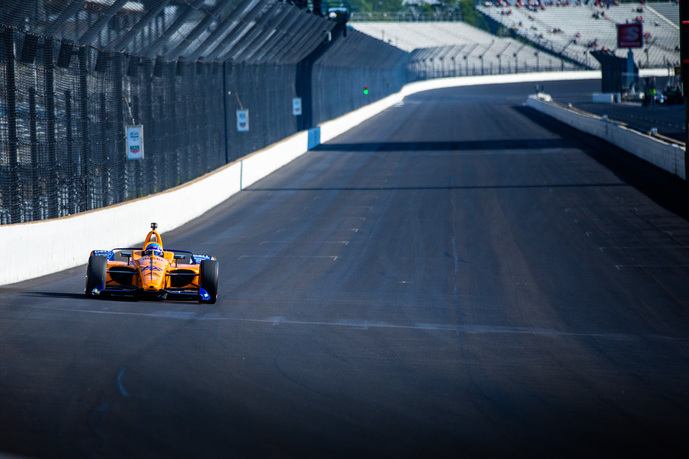 Fernando Alonso on track at the Indianapolis Motor Speedway. © [Andy Clary/ Spacesuit Media]