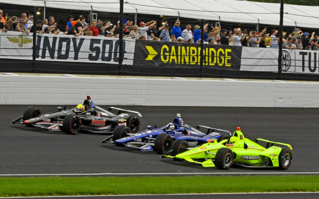 Front row of Simon Pagenaud, Ed Carpenter and Spencer Pigot on the pace lap.  [Joe Jennings Photo]