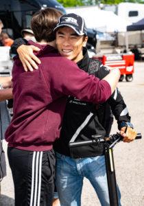 Camin Hellmich and Takuma Sato at Road America. [Rich Zimmermann Photo]