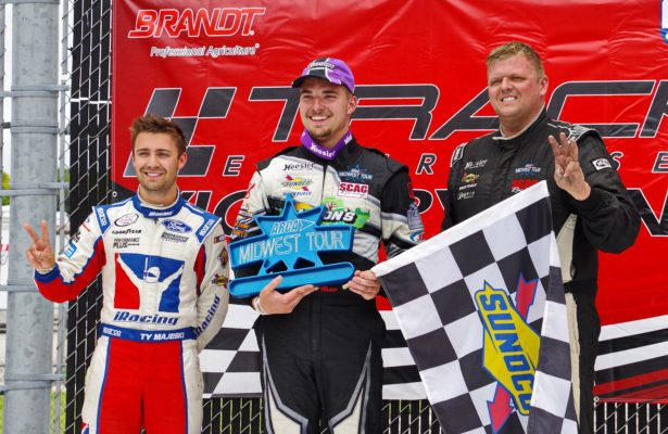 Ty Majeski (second), Austin Nason (winner), Dan Fedrickson (third) [Roy Schmidt Photo]