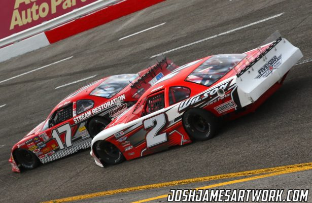 Josh Brock (17) battles with Donnie Wilson (2) for position (Josh James Photo)