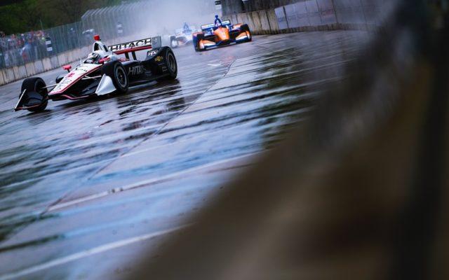 Leaders in the rain at the Chevrolet Detroit Grand Prix.  © [Jamie Sheldrick/ Spacesuit Media]