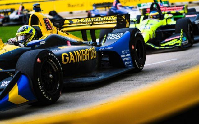 Zach Veach in the pack at the Chevrolet Detroit Grand Prix.  © [Jamie Sheldrick/ Spacesuit Media]