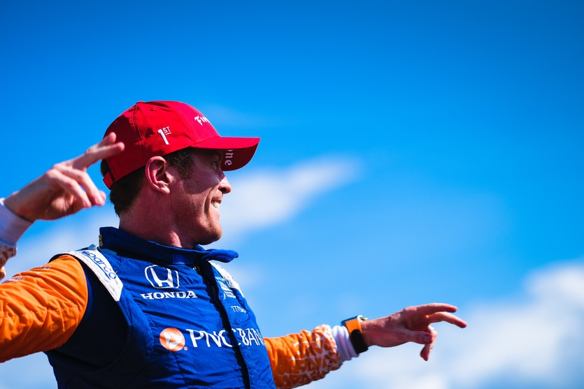 Scott Dixon celebrates victory in Round Two at the Chevrolet Detroit Grand Prix. © [Jamie Sheldrick/ Spacesuit Media]