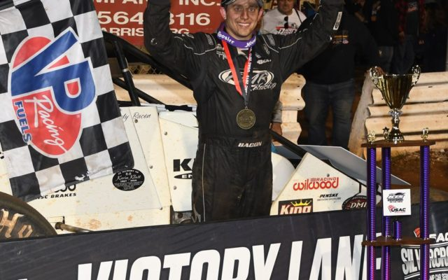 Winner Brady Bacon enjoys race victory and the $8,000 payday.  [Joe Jennings Photo]