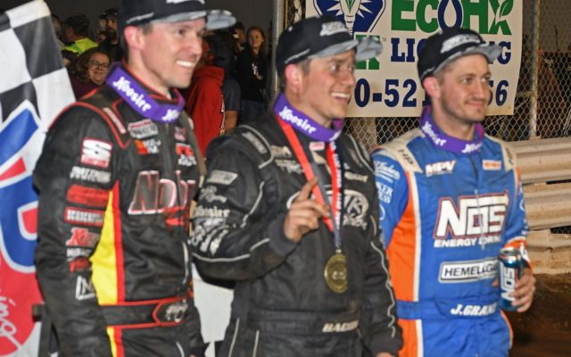Top 3 finishers Kody Swanson, winner Brady Bacon and Justin Grant.  [Joe Jennings Photo]