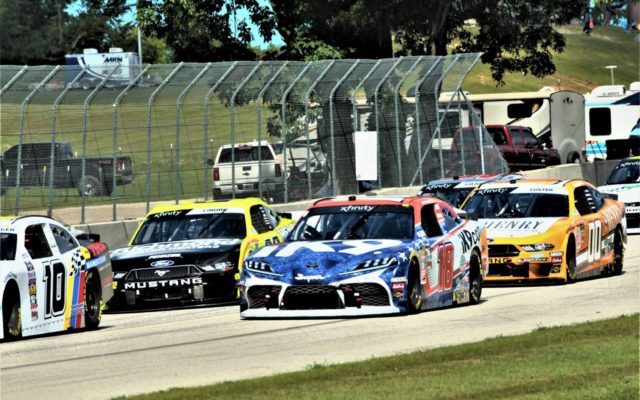 #10 A.J. Allmendinger , #18 Matt DiBenedetto; #22 Austin Cindric; and #00 Cole Custer at the start of the CTECH 180 at Road America.  [Dave Jensen Photo]