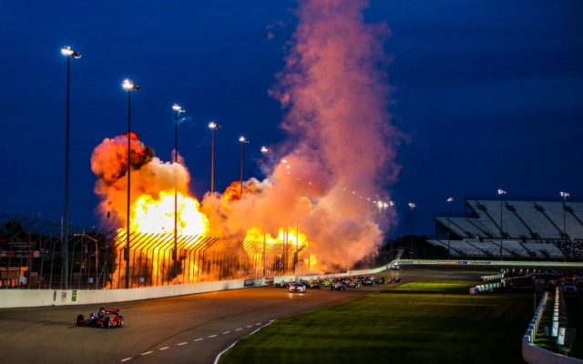 Pyrotechnics prior to the race at World Wide Technology Raceway at Gateway.  © [Andy Clary/ Spacesuit Media]