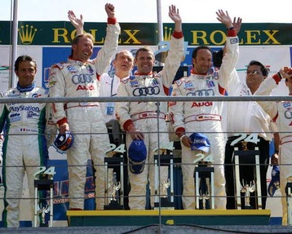 Victory podium at Le Mans 2005. Champion Audi drivers (L-R), JJ Lehto, Tom Kristensen and Marco Werner. [Photo by Jack Webster]