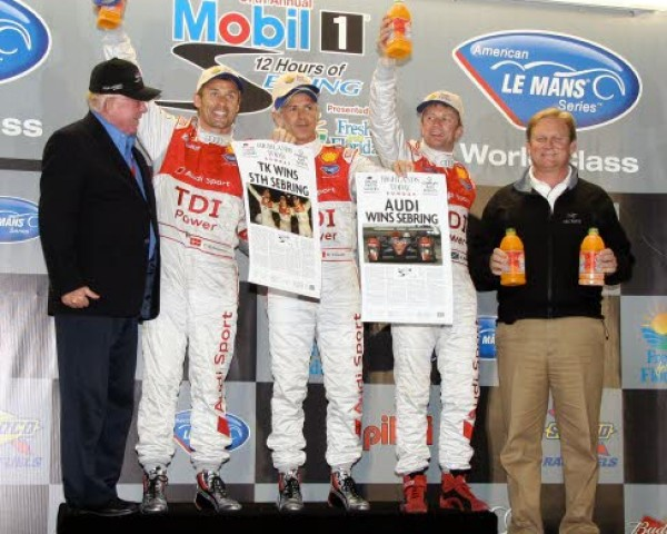 Kristensen, Capello and McNish celebrate their victory at the 2009 12 Hours of Sebring. [Photo by Jack Webster]
