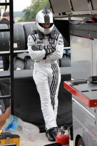 Patrick Dempsey seeking out some quiet time before a driving stint at Road America.  [Photo by Jack Webster]