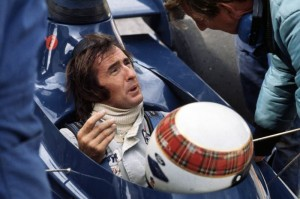 Jackie Stewart confers with team owner Ken Tyrrell at the Canadian Grand Prix in 1973.  [photo by Jack Webster]