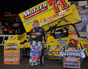 Joey Saldana in victory lane at VSP.  He drove the Motter Motorsports sprinter.  [Joe Jennings Photo]