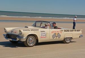 94-year old Vicki Wood rides in pace car . [Joe Jennings Photo]