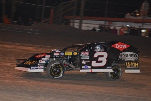 Austin Dillon, driving famed No. 3, en route to victory in UMP Modified feature hours after winning Daytona 500 pole.  [Joe Jennings Photo]