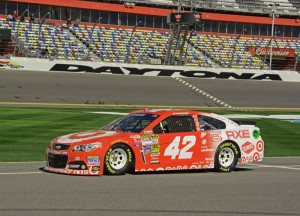 Kyle Larson rolls down pit lane at the Daytona International Speedway.  [Joe Jennings Photo]