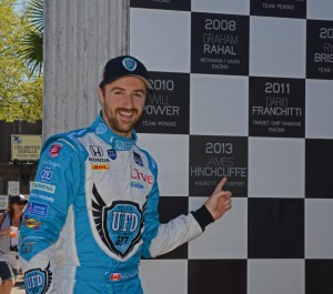 James Hinchcliffe, the 2013 winner, has his plaque added to the Victory Circle Monument.  [Joe Jennings Photo]