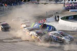 Typical Global Rallycross action at the start of a race. (Photo Credit: Global Rallycross Staff)