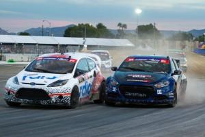 Scott Speed (white 77) races Travis Pastrana (blue 99) in Las Vegas.  (Photo Credit: Matt Kalish)