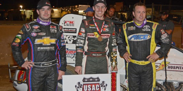 Top three finishers – Runner-up Bobby East, winner Kody Swanson and third-place finisher Tracy Hines.  [Joe Jennings Photo]