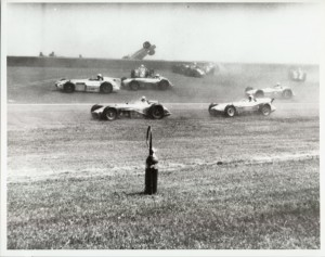 The 1958 Indianapolis 500 was marred with a first lap accident that saw rookie Jerry Unser go over the wall.  [Photo courtesy of the Indianapolis Motor Speedway]