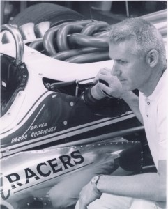 One of my favorite photos of A.J. Watson, kneeling next to Pedro Rodriguez's 1967 car.  [Photo courtesy of the Indianapolis Motor Speedway]