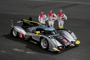 Legendary teammates at Le Mans in 2011 with the all new Audi R18 - Allan McNish, Tom Kristensen and Dindo Capello.  [photo by Audi Motorsport]