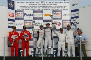 Dindo Capello and co-driver Emanuele Zonzini enjoying the overall victory at the Misano World Circuit this past weekend in Italy.  [Photo by Audi Motorsport]