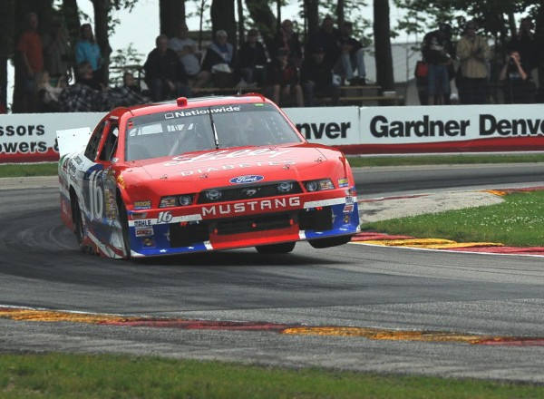 Rookie Ryan Reed saves some wear and tear on his left front tire in turn six at Road America.  [John Wiedemann Photo]