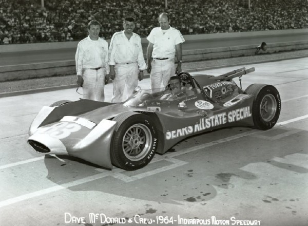Californian Dave MacDonald come up through drag racing and road racing, even driving in some NASCAR events. Here is poses with Peter Bryant (on left) and car owner Mickey Thompson (center) and his Ford powered Sears AllState Thompson-designed car.  [Photo courtesy of the Indianapolis Motor Speedway]