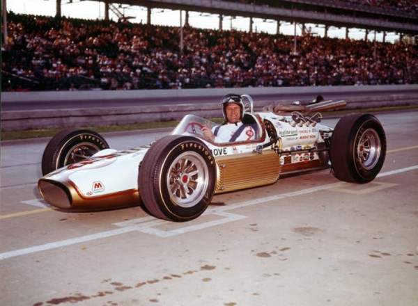 Eddie Sachs was driving a Halibrand Shrike-Ford in the 1964 Indianapolis 500, sponsored by Red Ball Moving and Marathon Gasoline.   [Photo courtesy of the Indianapolis Motor Speedway]