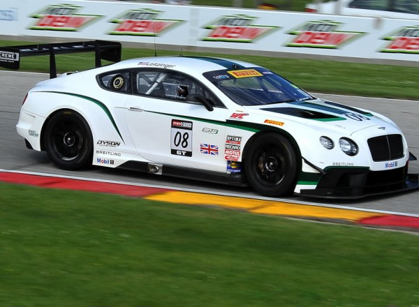 The Bentley Continental at speed on the Road America track.  [John Wiedemann Photo]