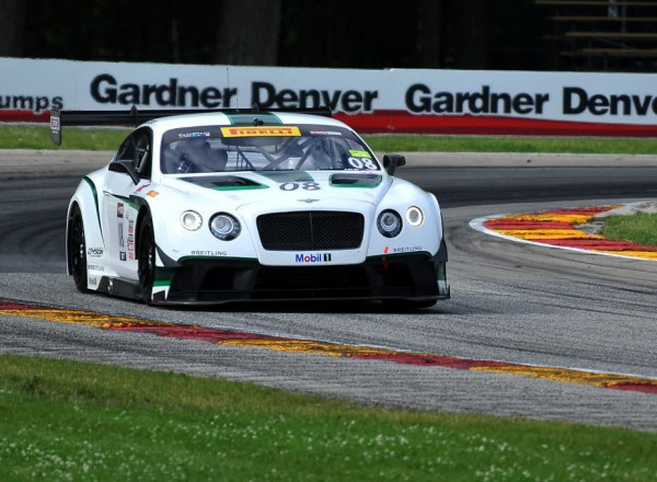 Running through turn six at Road America, Butch Leitzinger puts the Bentley though it's paces.  [John Wiedemann Photo]