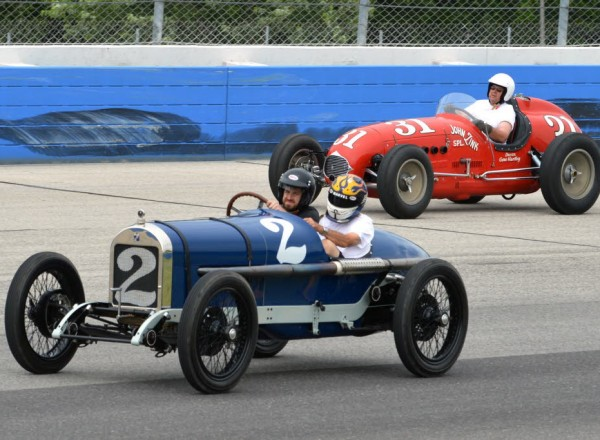 Terry Castle's Durant Miller #2 and Mike Bauman's Zink Special take to the historic Milwaukee Mile track.  [Russ Lake photo]
