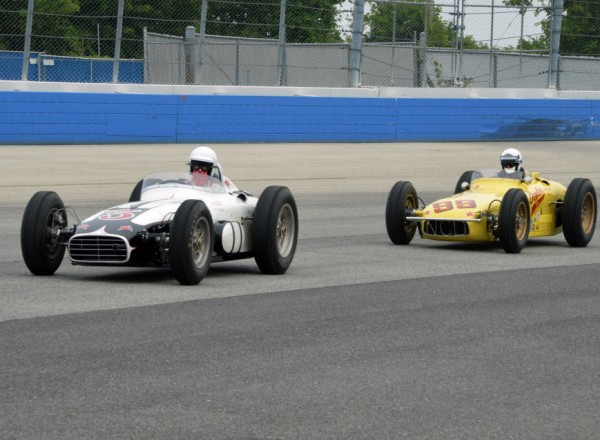 Offys on the Mile. Tim Coffeen in Phil Reilly's Kurtis-Epperly leads Mark Mountanos' Demler Special Epperly at the Harry Miller Meet at the Milwaukee Mile.  [Russ Lake photo]