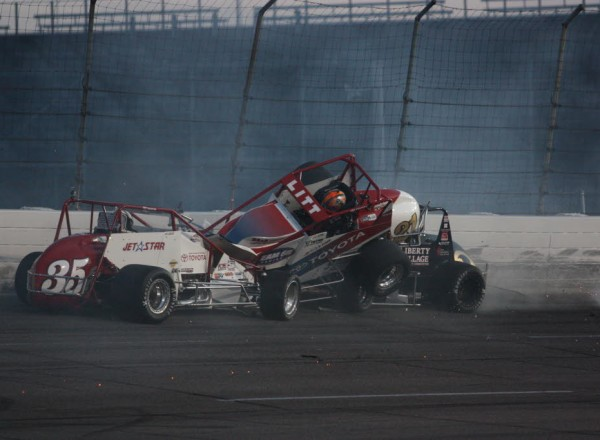 AJ Fike (3) joins the wreck and ends up underneath the car of Ryan Litt.  [Mark Walczak Photo]