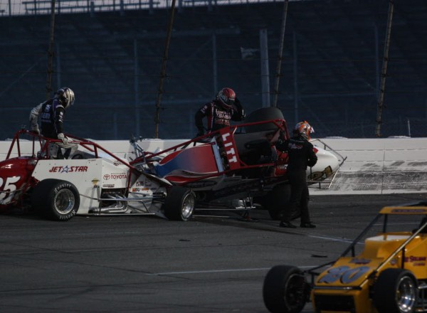 All drivers involved in the incident exited their cars and walked away.  [Mark Walczak Photo]