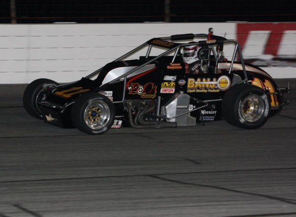 Tanner Swanson set fast time in qualifying and led 99 laps of the 100 lap race.  [Mark Walczak Photo]