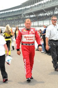 Ryan Newman heads to his car to qualify at the Indianapolis Motor Speedway.  [Father Dale Gruba photo]