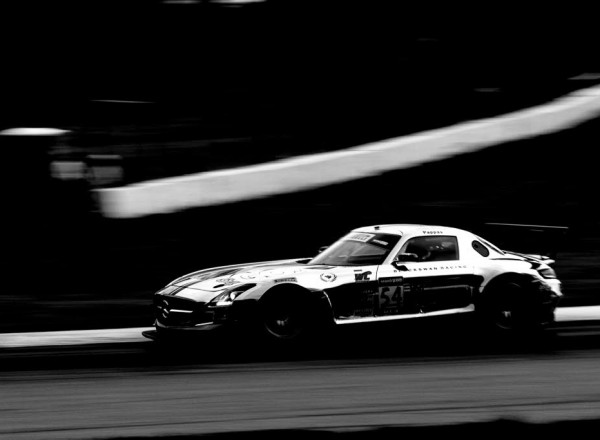 The chrome Mercedes AMG SLS GT3 piloted by Tim Pappas at Mid Ohio.  [Andy Clary Photo]